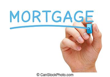 hipoteca, azul, marcador
