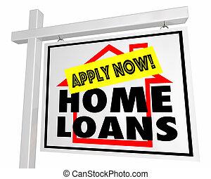 hipoteca, casa, venda, ilustração, sinal, lar, aplique, empréstimos, 3d