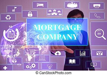 hipoteca, companhia, conceito, apresentado, por, homem negócios, tocar, ligado, virtual, tela, elemento, fornecido, por, nasa