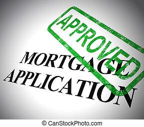 hipoteca, forma, meios, obtendo, -, ilustração, aplicação, finanças, propriedade, aprovado, 3d