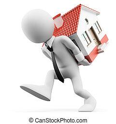hipoteca, homem negócios, carregar, pessoas., house., 3d, branca