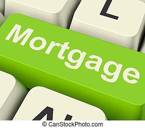 hipoteca, llave computadora, actuación, en línea, credito,...