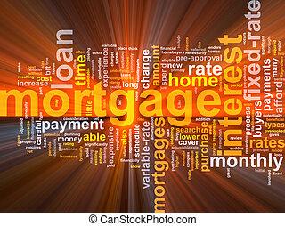 hipoteca, palabra, nube, encendido