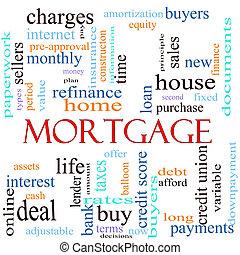 hipoteca, palavra, conceito, ilustração