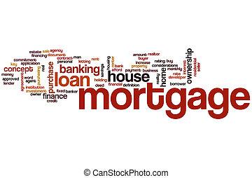 hipoteca, palavra, nuvem