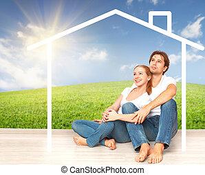 hipoteca, pareja, soñar, joven, concept:, caja, hogar, ...