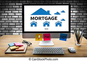hipoteca, propiedad, bienes raíces, hogar, paga, preste pago