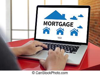 hipoteca, propriedade, bens imóveis, lar, pagar, empreste pagamento