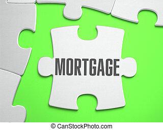 hipoteca, -, rompecabezas, con, perdido, pieces.