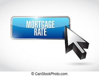 hipoteca, taxa, botão, sinal, conceito