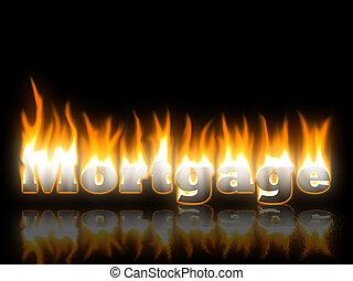 hipoteca, texto, fogo, com, reflexão
