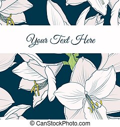 Hippeastrum amaryllis lilly floral card template -...