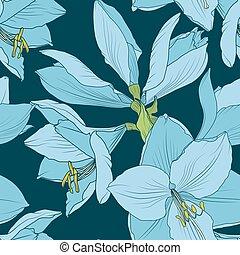 Hippeastrum amaryllis seamless pattern blue navy -...