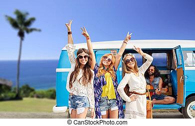 hippi, autó, minivan, tengerpart, barátok, boldog
