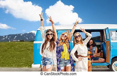 hippi, autó, szabadban, minivan, barátok, boldog