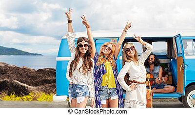 hippi, autó, sziget, minivan, barátok, boldog