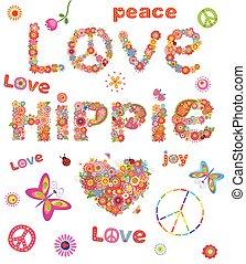 hippie., afdrukken, bloemen, liefde