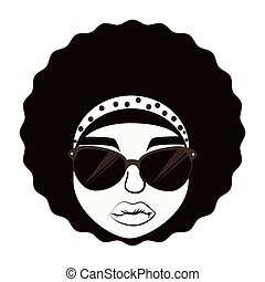 Hippie afro woman , isolated flat icon with black and white...