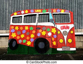 hippie, autobus, fourgon