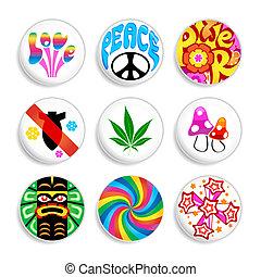 Set of artistic badges with 60x spirit inside. Make love, not war.