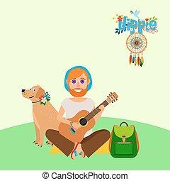 Hippie barefoot man with dog - Hippie vector illustration....