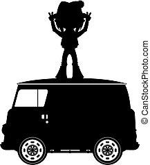 hippie, &, bestelbus, silhouette