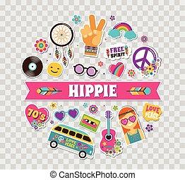 hippie, bohem, affisch, kort, design, med, klistermärken, nålen, konst, mode, chic, lappar, nålen, märken, och, ikonen