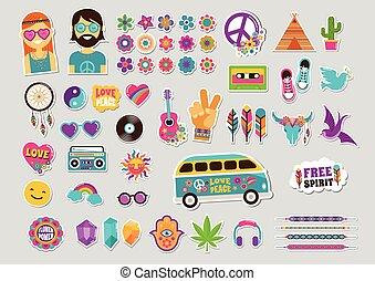 hippie, bohem, design, med, ikonen, sätta, klistermärken, nålen, konst, mode, chic, lappar, och, märken