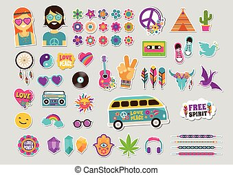 Hippie, bohemian design with icons set, stickers, pins, art ...