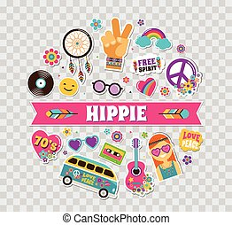 Hippie, bohemian poster, card design with stickers, pins,...