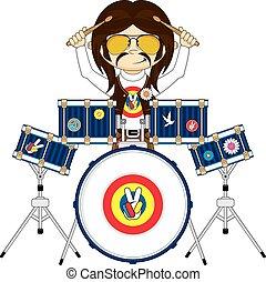 Hippie Boy with Drums