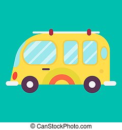 Hippie bus isolated on green background graphic poster -...