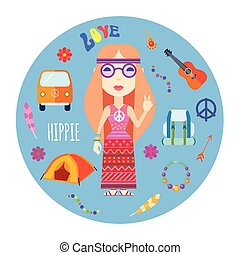 Hippie Character Accessories Flat Round Illustration