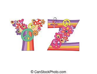 Hippie childish alphabet