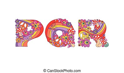 Hippie childish alphabet with colorful abstract flowers, ...