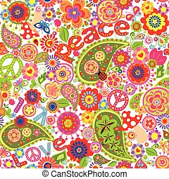 Hippie childish colorful wallpaper with mushrooms and...