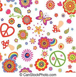 Hippie childish funny wallpaper with abstract flowers, mushrooms, rainbow and peace symbol