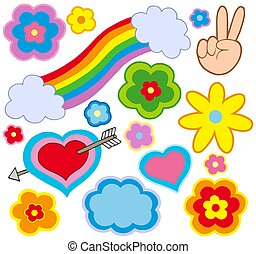 Hippie decorations on white background - isolated ...