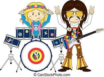 Hippie Drummer & Guitarist