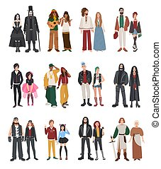 hippie, ensemble, punk, rapper, girl, différent, motard, bascule, rastaman., plat, couple, style, illustration, emo, metalhead, reenactors, subculture., collection., historique, type, goth, hipster
