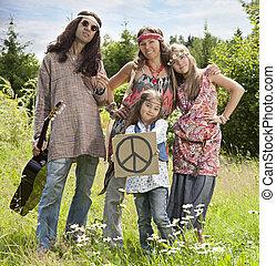 """hippie, famille, à, """"pacific"""", signe"""