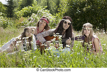 Hippie family outdoors