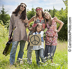 "Hippie family with ""Pacific"" sign"