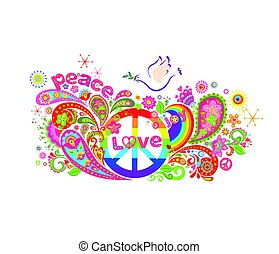 hippie, farverig, plakat, abstrakt, fred, blomster, regnbue, dykke, symbol