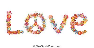 hippie, fleurs, lettre amour