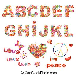 Hippie floral alphabet with funny colorful flowers. Part 1