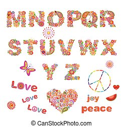 Hippie floral alphabet with funny colorful flowers. Part 2
