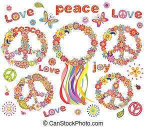 hippie, flores, grinalda