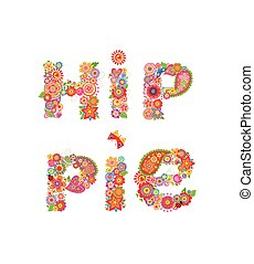 Hippie flowers lettering print