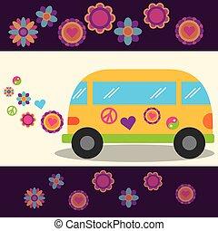 hippie free spirit van flowers festival peace sign